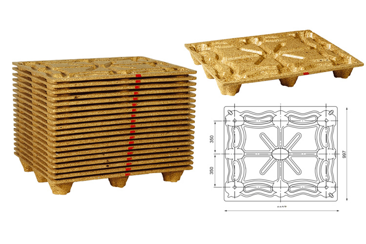 Geperste houtvezel pallets 100x120 voor 1250 kg